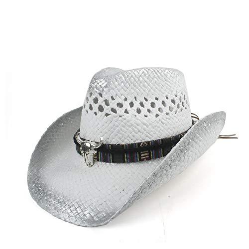 Quintion Child Hut, 2020 Neue Sommer-Tage-Bart Cowboy-Hut Sonnenhut Breathable Hat-Reisen Hat Art und Weise gesponnene Gurt Zier Street Jazz Hut (Farbe : 1, Größe : 56-58)
