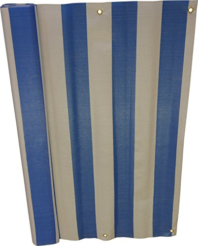 Angerer 3324/1001_800 Balkonbespannung PE-Gewebe Blockstreifen, Blau, 90 cm hoch, Länge: 8 Meter