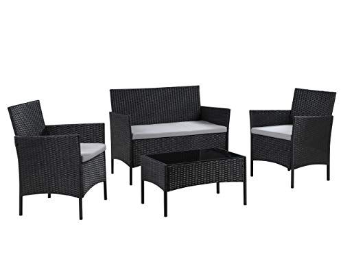 Salbay Rattan Garden Furniture Set Patio Conservatory Indoor Outdoor 4 piece set table chair sofa (Black)