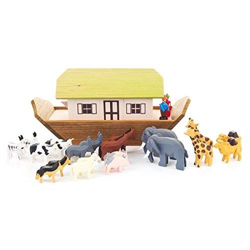 Miniatuurark Noah, klein met 20 banden en 2 figuren - Dregeno houtkunst uit het Ertsgebergte - artikel 154/201