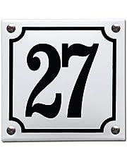 Emaille Huisnummer gebold Wit/Zwart - 27