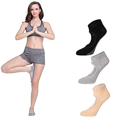 Yoga Ankle Socks Non Slip Skid Barre Ballet Pilates Grips Fitness Dance for Women - 3 Pairs