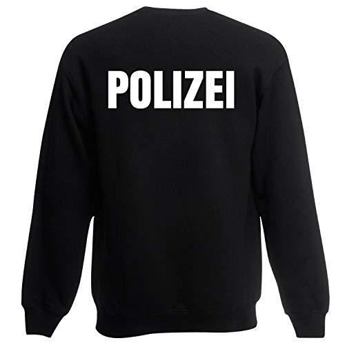 Shirt-Panda Herren Polizei Sweatshirt · Druck Brust & Rücken · Polizisten Pullover · Pulli für Polizeileute · Reflex · 80% Baumwolle · Police Sweater · Schwarz (Druck Weiß) S