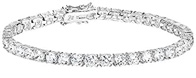 Amazon Essentials Platinum Plated Sterling Silver Round Cut Cubic Zirconia Tennis Bracelet (4mm), 7.75""