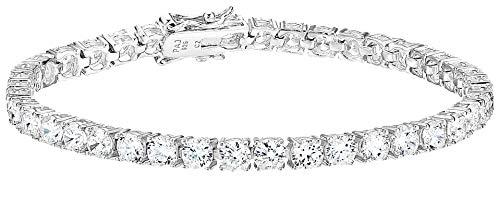 Amazon Essentials Platinum Plated Sterling Silver Round Cut Cubic Zirconia Tennis Bracelet (4mm), 7.5'