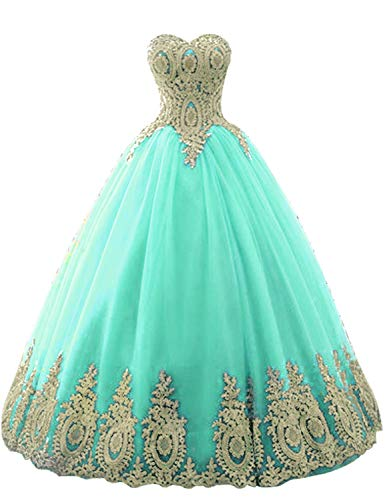 Adela Richer Women's Off Shoulder Gold Lace Tulle Prom Ball Gown