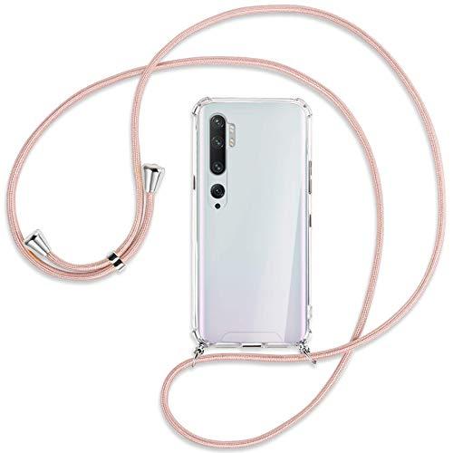 mtb more energy® Collar Smartphone para Xiaomi Mi Note 10, Note 10 Pro (6.47'') - Oro Rosa - Funda Protectora ponible - Carcasa Anti Shock con Cuerda