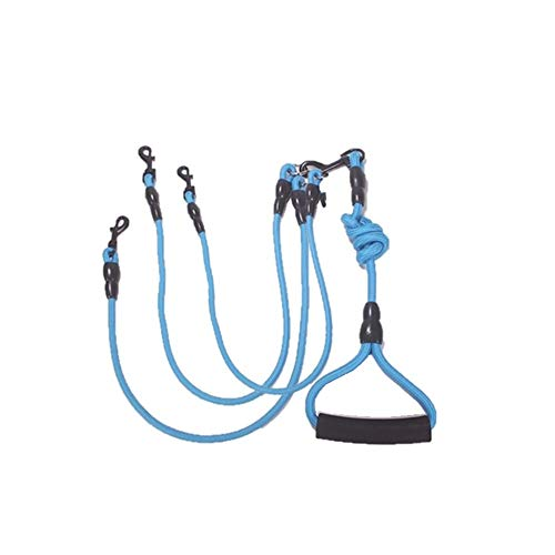 Heavy Duty Dog Leash Three Dogs, Detachable 3 in 1 Leash for Dogs 360° Swivel No Tangle with Soft Padded Handle, Suitable for Walking and Training Leashes for Two/Three Dogs (Blue)