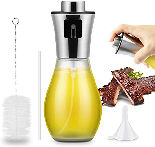 Spruzzatore Olio 200ml,Oil Sprayer Dispenser con tubo spazzola Aceto/Olio Spruzzatore Nebulizzatore Olio Cucina in Vetro per BBQ, insalata, pane di cottura, cucina