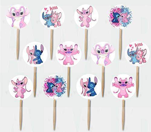 Angel & Pink Stitch Girlfriend Cupcake Picks Cake Topper -12 pcs, Lilo & Stitch