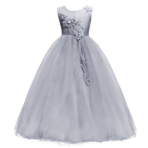 Princess Flower Long Girls Pageant Tutu Dresses Kids Prom Puffy Tulle Dance Party Fall Wedding Bridesmaid Ball Gown Gray 15-16 Years