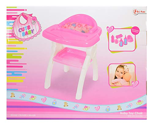 Toi-Toys 02011A Kinderstoel voor babypop, inclusief accessoires, ca. 44 cm.