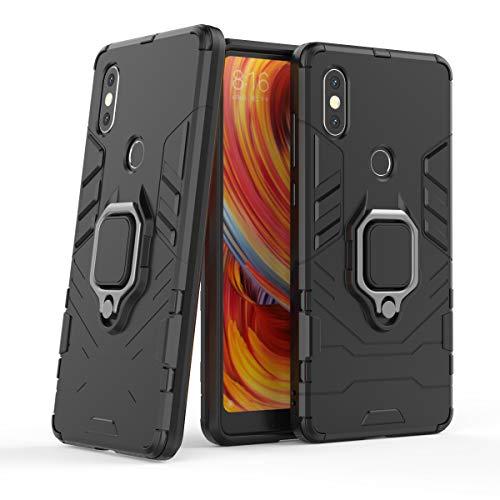 Cocomii Black Panther Ring Xiaomi Mi Mix 2S Hülle, Schlank Dünn Matte Vertikaler und Horizontaler Ständer Ringgriff Fallschutz Hülle Bumper Cover Schutzhülle Compatible with Xiaomi Mi Mix 2S (Jet Black)