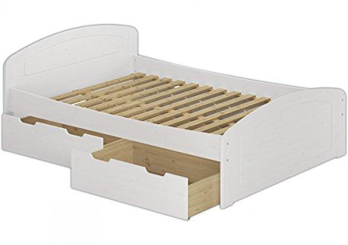 Erst-Holz® Funktionsbett 140x200 Doppelbett 3 Staukästen Rollrost Seniorenbett Massivholz Weiß 60.50-14 W