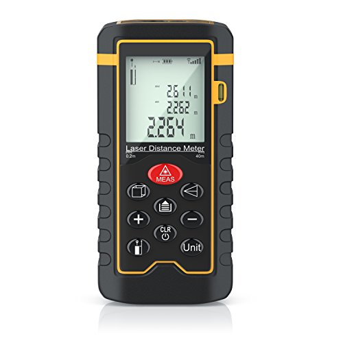 Brandson - Laser Entfernungsmesser - Laser Distanzmessgerät - Messung von Distanz, Flächen, Volumen - bis zu 40m - Messeinheit in Meter, Zoll, Fuß - LCD Display mit Hintergrundbeleuchtung