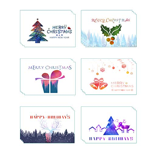 Anyingkai 24pcs Cartoline di Natale,Biglietti d Auguri con Busta, Biglietti di Auguri Natalizi,Cartoline Buon Natale,Biglietti di Buon Natale,Cartolina di Natale,Biglietti di Natale (Bianco Natale)