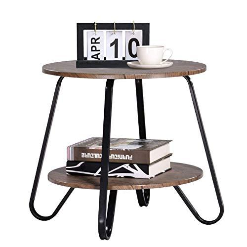 Coavas Tavolini da caffè Vintage da Soggiorno 2 Tiers Tavoli con piedistallo Tavolini da Comodino per la Camera da Letto Tavolini Rotondo da Salotto in Legno Marrone Metallo