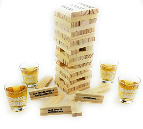 Bambelaa! Trinkspiel Partyspiel Wackelturm Drunken Tower inklusive vier Trinkgläser ca. 4cl (Deutsche Version)