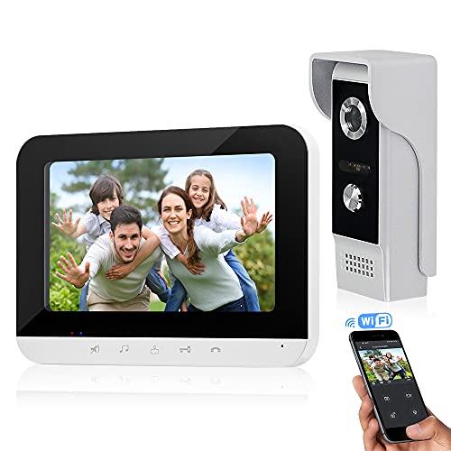 FTSTech 7 pulgadas WiFi Videoportero Teléfono con Cable Sistema de Intercomunicación por video Monitor de Panel Táctil, Cámara IR para Exteriores Desbloqueo Remoto para Seguridad en el Hogar