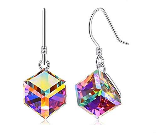 YUIP Cat Eye Jewels Para Mujeres Pendientes de Azucar Pendientes Colgantes Cube Dangle Aretes Colgantes Que Cambian de Color Joyas de Ojo de Gato Para Mujer Pendientes Colgantes de Cubo Que