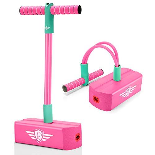 LetsGO toyz Pogo Stick para Niños, Regalos Cumpleaños & Aire Libre Deporte Juguetes - Carga MAX 100 KG (Rosa Roja)