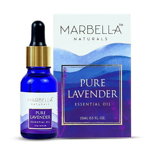 MARBELLA NATURALS Luxury Lavender Essential Oil – Pure 100% Natural Lavandula Angustifolia Extract – Healthier Skin and Hair – Calming Bath or Massage for Restful Sleep – Diffuser-Ready for Aromatherapy – 15 ml
