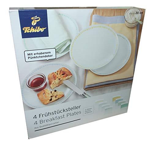 4 Frühstücksteller mit erhabenen Pünktchen Dekor Teller Porzellan Kuchenteller Punkte
