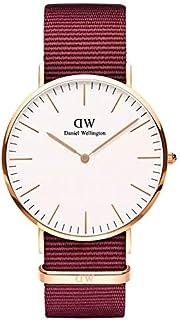 Daniel Wellington DW00100267 Fabric-Band White-Dial Round Analog Unisex Watch - Maroon