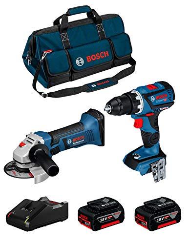 BOSCH Kit 18V BK208BAG (Taladro Atornillador GSR 18V-60 C + Amoladora GWS 18-125 V-LI + 2 Baterías de 4,0 Ah + Cargador + Bolsa)