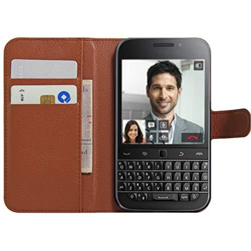 HualuBro BlackBerry Classic Hülle, Premium PU Leder Leather Wallet HandyHülle Tasche Schutzhülle Flip Case Cover für BlackBerry Classic Q20 Smartphone (Braun)