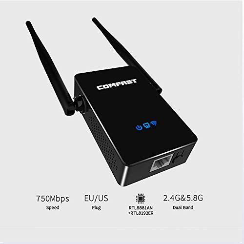 HUIJIN1 Extensor de Rango WiFi 750Mbps Repetidor inalámbrico Internet Signal Booster 5.8 GHz Amplificador para Alta Velocidad de Largo Alcance, amplía WiFi a Dispositivos Home & Alexa