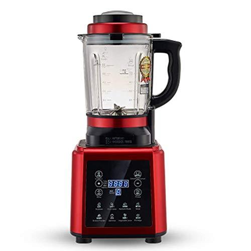 QIN.J.FANG Soup Maker Ble,1.75L Glass Jar Digital Cooking Blender Hot Soup Maker Cooker Mixer Juicer Food Grinder Processor with Heat Function,Red
