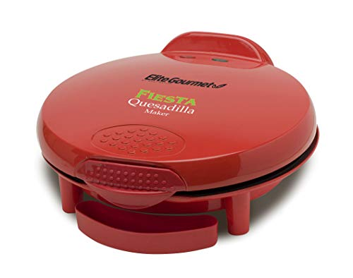 Elite Gourmet Mexican Taco Tuesday Quesadilla Maker, Easy-Slice 6-Wedge, Grilled Cheese, 11 Inch, Red