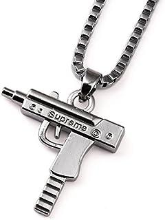 """Collana + ciondolo UZI, incisione """"Supreme"""", pistola argento, stile hip hop"""