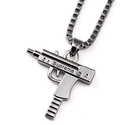 Collana + ciondolo UZI, incisione 'Supreme', pistola argento, stile hip hop
