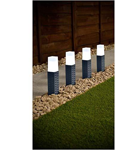 4pk Solar Powered Rattan Effect Post Solar Lights Garden Outdoor Decoration (Grey)