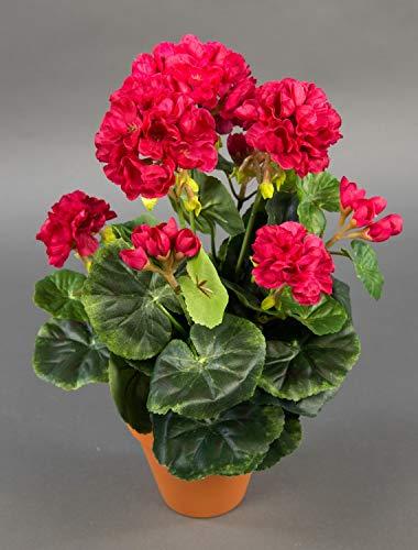 Seidenblumen Roß Geranie 36cm pink -ohne Topf- LM Kunstpflanzen Kunstblumen künstliche Blumen Pflanzen Pelargonium