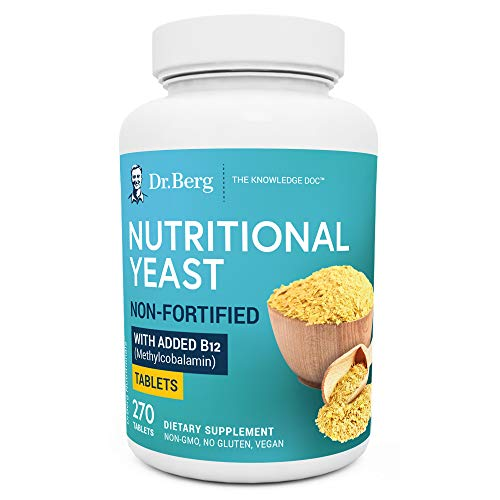Dr. Berg's Nutritional Yeast Tablets – Non-Fortified Natural B12 Added - with All 8 B Vitamin Complex – No Gluten Non-GMO Non Synthetics - 270 Vegan Tablets Dietary Supplements