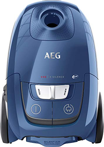 AEG VX8-2-6SB Staubsauger mit Beutel (Inkl. Zusatzdüsen, 600 W, nur 64 dB(A), 12 m Aktionsradius, 3,5 l Staubbeutelvolumen, effiziente Energieausnutzung, ERGO-Handgriff, Hygiene Plus Filter, blau)