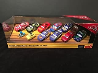 Disney Cars 3 Speedway of the South 11 Cars 1:55 Scale Mcqueen, Bobby Swift, Jimmy Cables, Dirkson D'agostino, Rex Revlar, Parker Brakeston, DePost, Certain, Chip Gearings & Mater