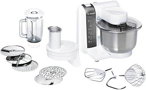 Bosch MUM48120DE Küchenmaschine 600 W, 3,9 L Edelstahlrührschüssel, Durchlaufschnitzler, Mixer-Aufsatz, weiß