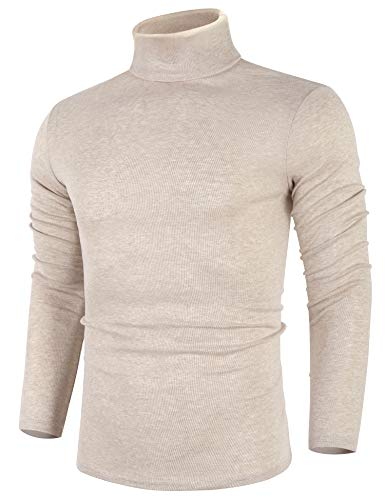 poriff Mens Big & Tall Fashion Knitted Solid Turtleneck Trim Pullover Sweater Apricot XXL