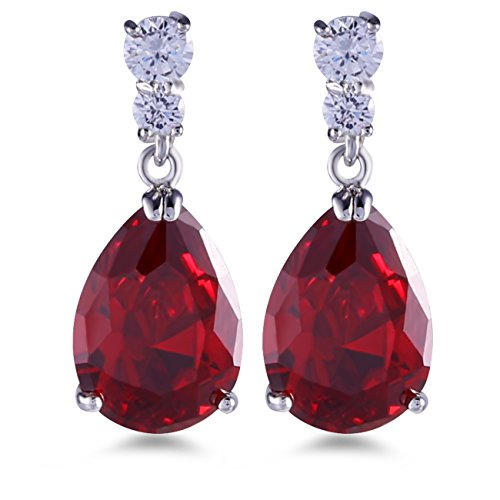 GULICX Silver Tone Ruby Color Red Zircon CZ Pear Drop Party Charming Dangle Earrings