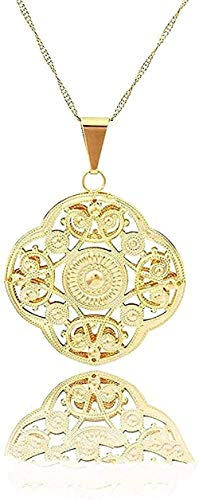 huangshuhua Collar Collar Colgantes Vintage Colgantes y Collares de Color Dorado Joyas Colgantes de lámina románticos Mujeres árabes Regalos para niñas Regalo para Mujeres Hombres Regalos