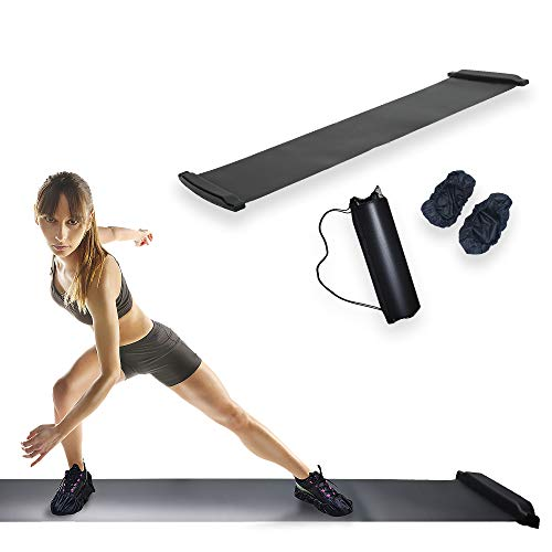ARISE Slide Board with Shoe Booties & Carry Bag (L 86.5 Inch x W 20 Inch), Workout Exercise Mat with End Stop, Fitness Slider for Strength Training, Therapy, Skating, Hockey Equipment, 7 Feet, Black