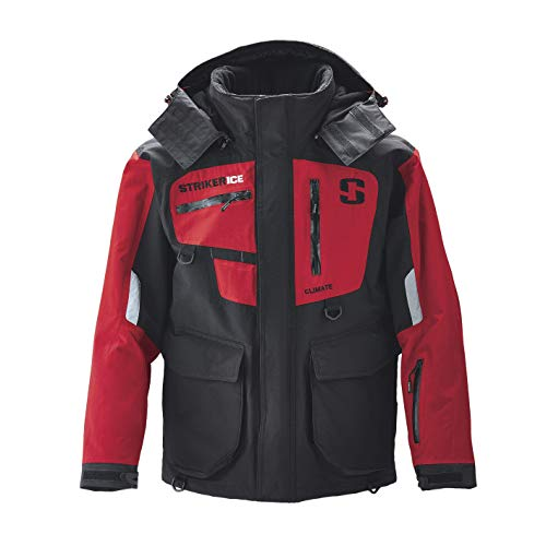 StrikerICE Men's Climate Jacket, Fishing Gear for Cold-Weather Conditions, Sureflote Technology, XL, Black/Red