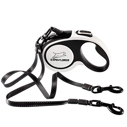 Dual Retractable Dog Leash - Double-Head Lockable Extendable Pet Leash - 16ft Reflective Nylon Ribbon - 360° Tangle-Free for Two Dogs Walking Training, Up to 160 lbs Total, 80 lbs Each