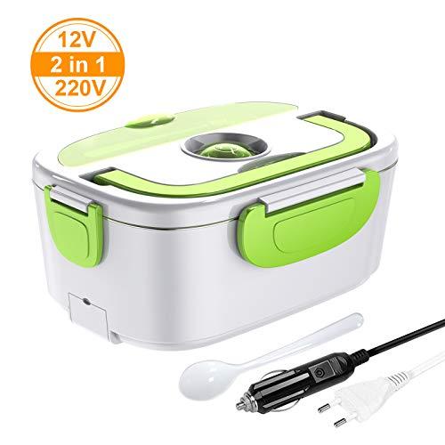 ERAY Boîte Chauffante Repas, 2 en 1 Lunch Box Chauffante Electrique 220V 12V 1.5L en Acier Inoxydable Amovible, Convient pour Voiture/Bureau/Pique-Nique (Vert)