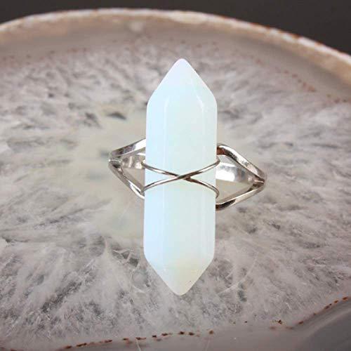 Gflyme - Anillo abierto para mujer, ajustable, vintage, enrollado, con prisma hexagonal, piedra de ópalo, anillo unisex, joyería de plata, regalos para bodas, graduación, cumpleaños, cumpleaños,