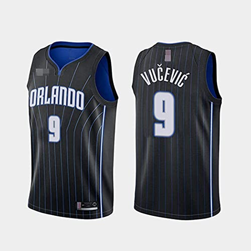 XSJY Camisetas De Baloncesto De Los Hombres, NBA Orlando Magic # 9 Nikola Vucevic Classic Sport Sport Ropa Sin Mangas Camiseta, Telas Comfort Uniformes Tops,A,L:175~180cm/75~85kg